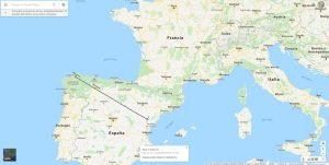 Distancia entre dos puntos Google Maps