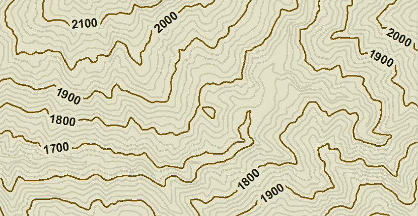 Curvas de nivel en un mapa